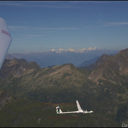 Near the Aiguille de Varan, en route from Chambéry to Mont Blanc, Aug 2005 - Flying in a Duo-Discus sailplane, in company with a 25m wingspan Ash-25.