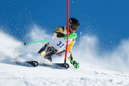 140813_FIS_SL1_3476 - Athlete competing in SSA FIS Slalom race on Hypertrail at Perisher, NSW (Australia) on August 13 2014. Jan Vokaty