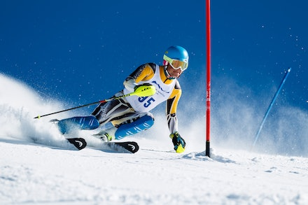 140813_FIS_SL1_3444 - Athlete competing in SSA FIS Slalom race on Hypertrail at Perisher, NSW (Australia) on August 13 2014. Jan Vokaty