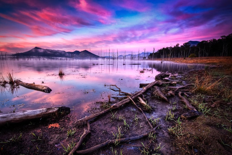 Pink Fog - Lake Moogerah - A foggy morning on Lake Moogerah can be truly majestic. Even better with pink skies and a lake shrouded in fog.