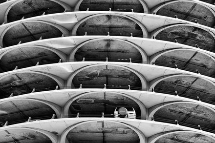 MG_2335 Marina City building, Chicago - The carpark on the lower level of the building.