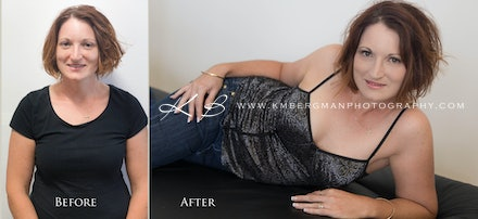 Before-and-after - Before and After from Brigid's glamour portrait session in our Edens Landing, Logan City studio.