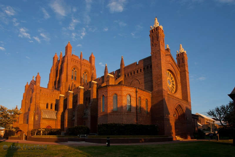 Christchurch Cathedral at sunset, Newcastle