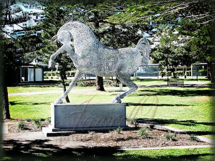 Park Horse - Modern statue of a horse in a park at Broad Beach on the Gold Coast, Queensland Australia. The horse is made of welded metal.