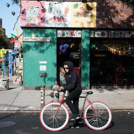 East Village Dude on Bike - East Third Street, East Village NYC