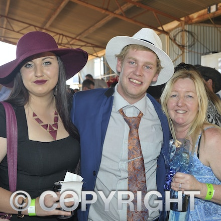 151003_SR22238 - Zoe Collins with Jarrod and Sharon Morris at the Jundah Cup day races, Saturday October 3, 2015.  sr/Photo by Sam Rutherford